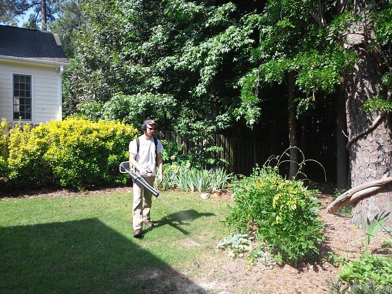 Daniel Spraying Mosquito Barrier in Cary North Carolina