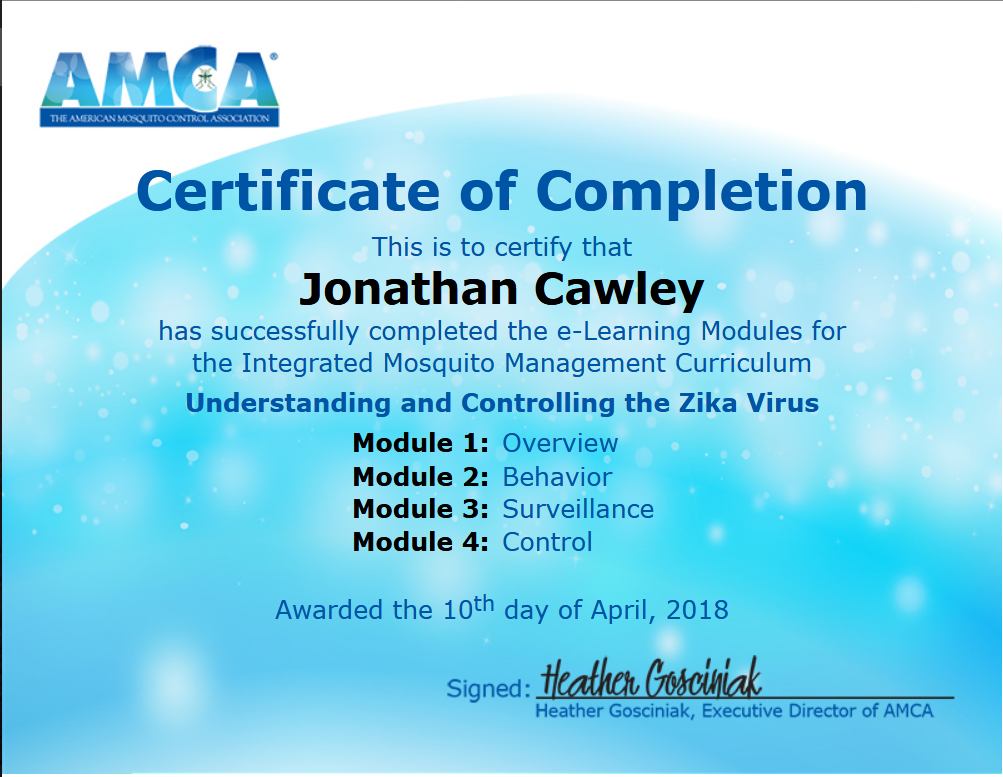 Zika Mosquito Control Certification